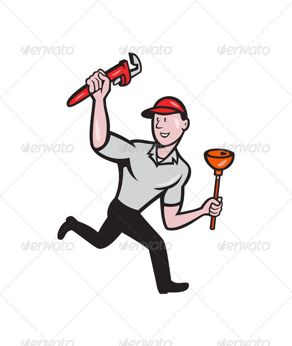 Plumber With Monkey Wrench And Plunger - People Characters