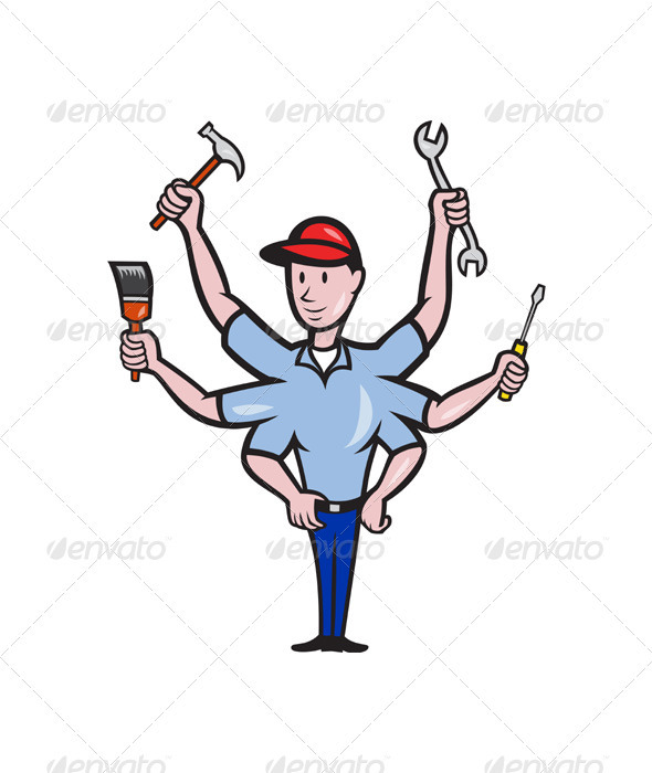 Tradesman Carpenter Mechanic Plumber Cartoon  - People Characters