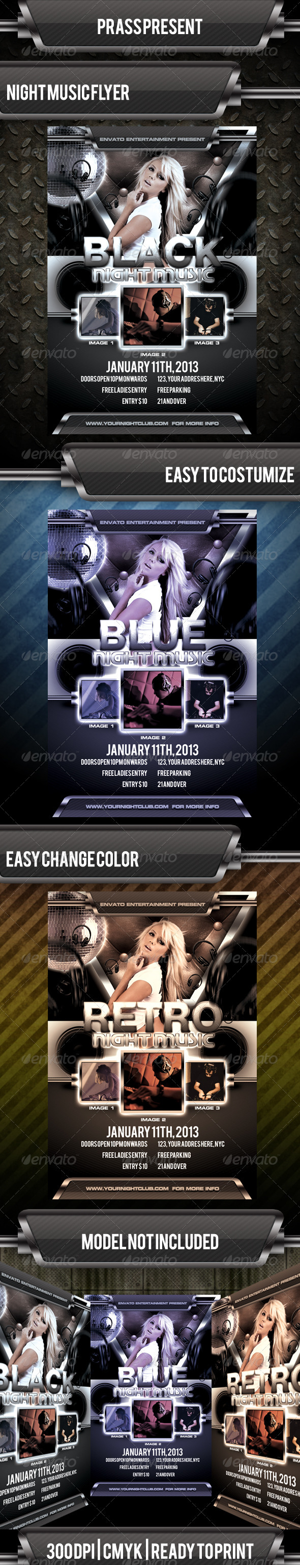 Black Night Music Flyer Template - Clubs & Parties Events