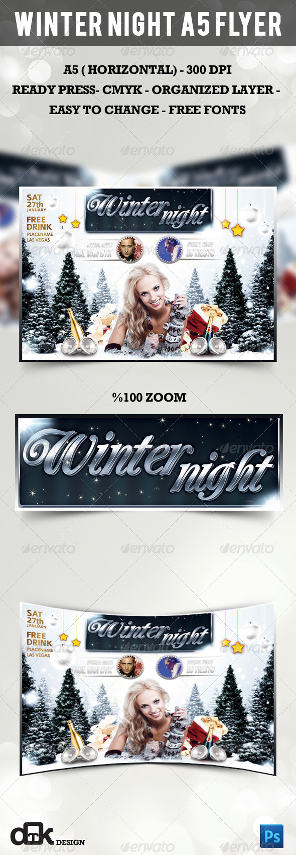 Winter Night A5 Flyer - Clubs & Parties Events