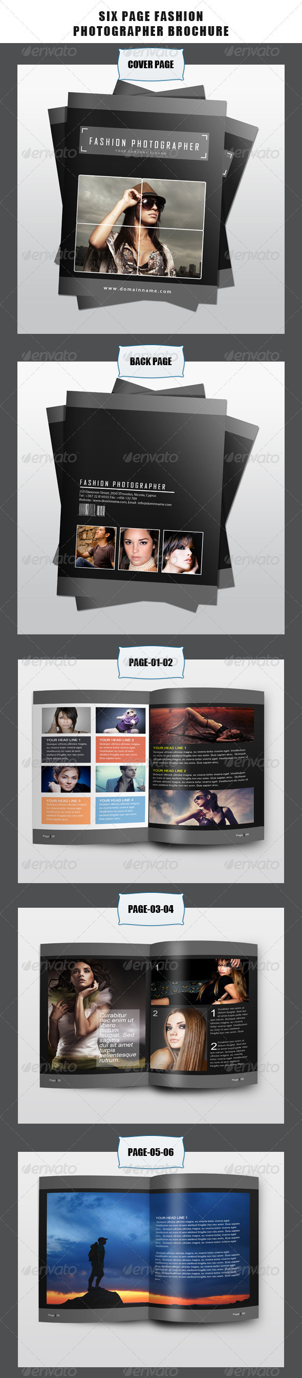 Six Page Fashion Photographer Brochure - Brochures Print Templates
