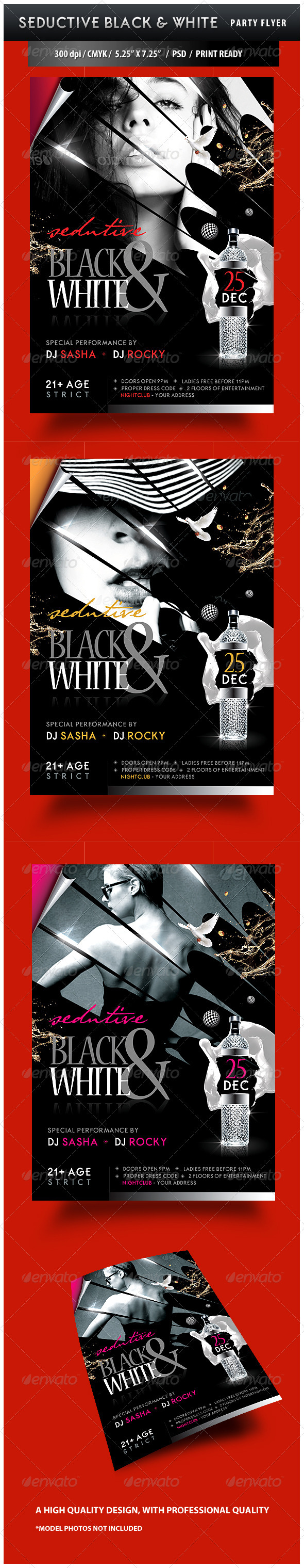 Seductive Black and White Party Flyer - Clubs & Parties Events