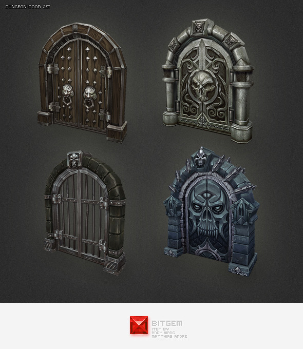 Low Poly Dungeon Door Set - 3DOcean Item for Sale & Low Poly Dungeon Door Set by BITGEM | 3DOcean