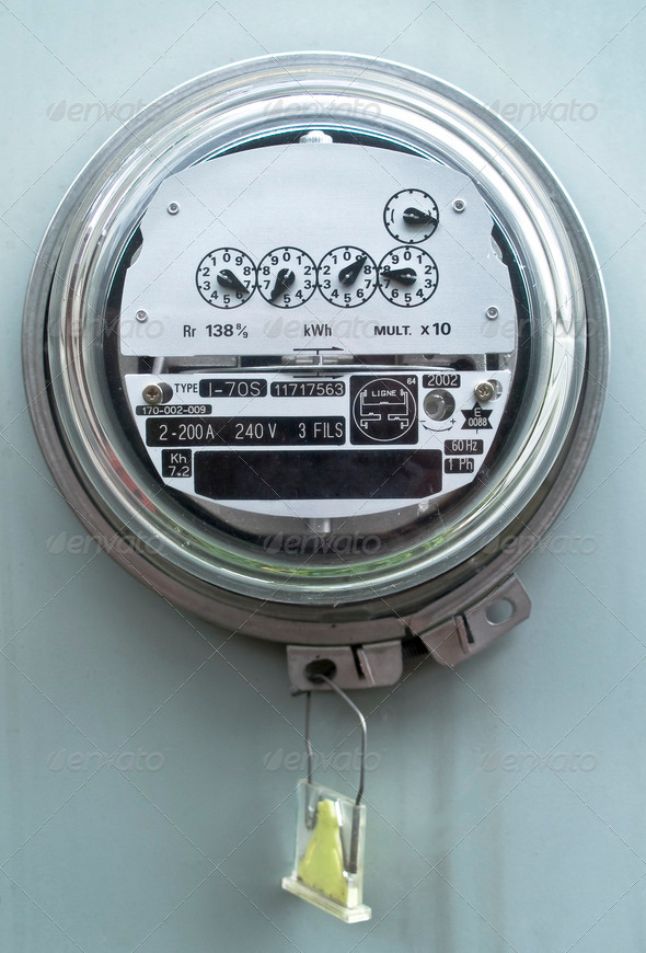 Electric meter front view - Stock Photo - Images