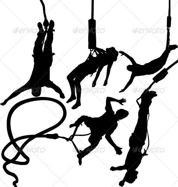 Bungee Jumper Silhouettes - Sports/Activity Conceptual