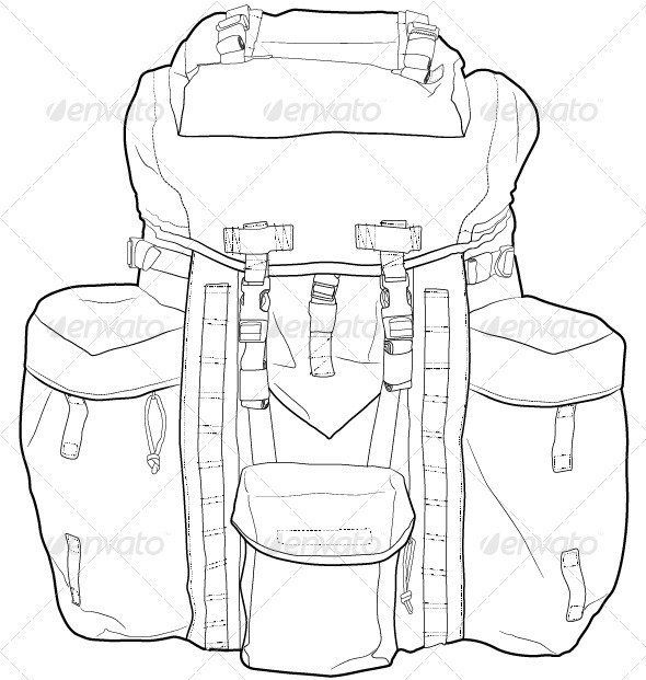 Military, Hiking Backpack Outline - Man-made Objects Objects