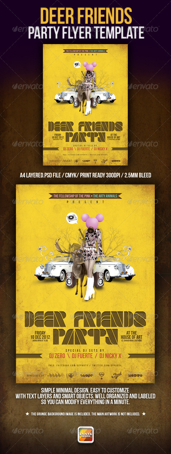 Deer Friends Party Template - Clubs & Parties Events