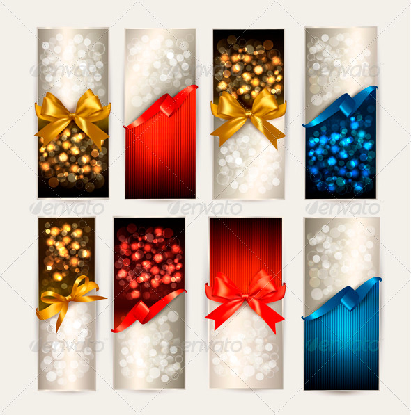 Set of Colorful Gift Cards with Gift Bows - Borders Decorative
