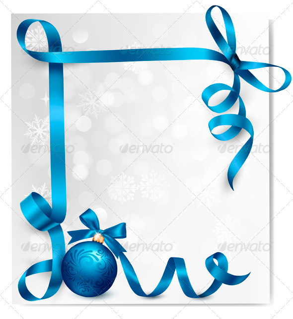 Holiday Background with Blue Gift Ribbons - Christmas Seasons/Holidays