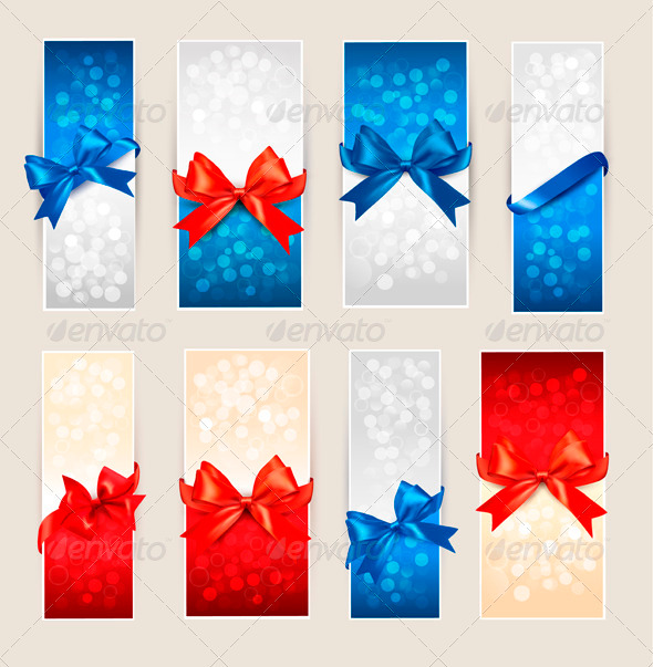 Set of Colorful Gift Cards with Bows and Ribbons - Commercial / Shopping Conceptual