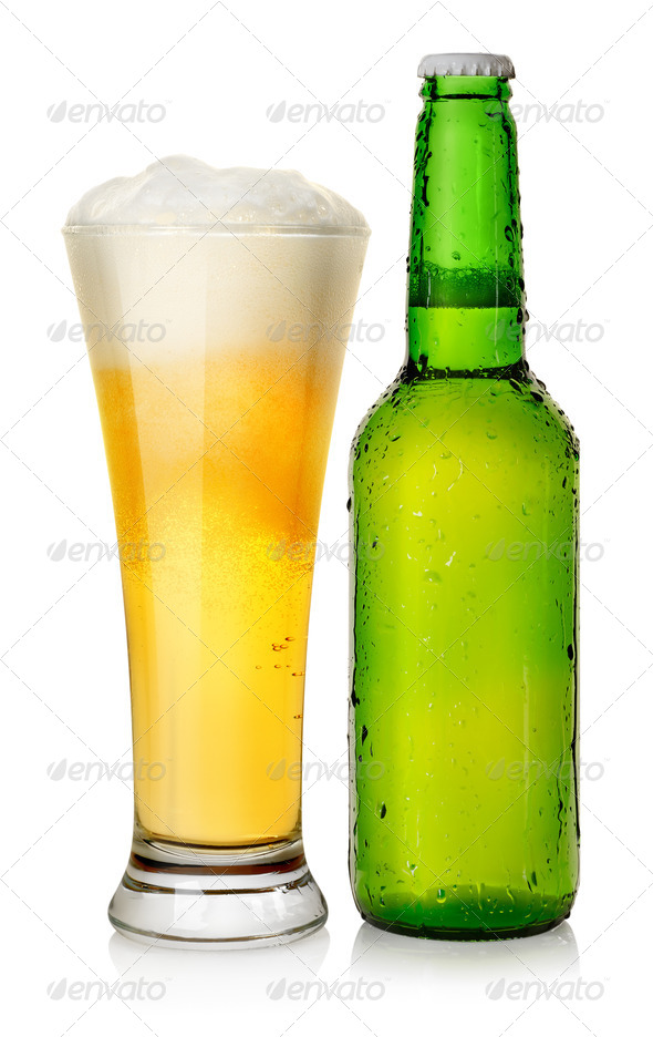 Bottle and mug beer - Stock Photo - Images
