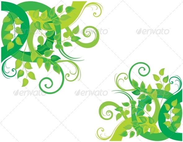 Green Decorative Background - Flourishes / Swirls Decorative