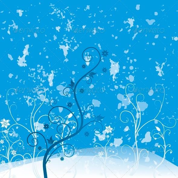 Grunge Flower Blue - Backgrounds Decorative