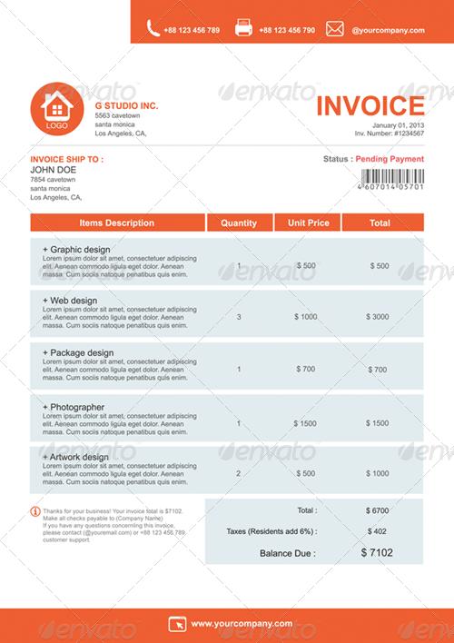 gstudio clean invoices template by terusawa | graphicriver, Simple invoice