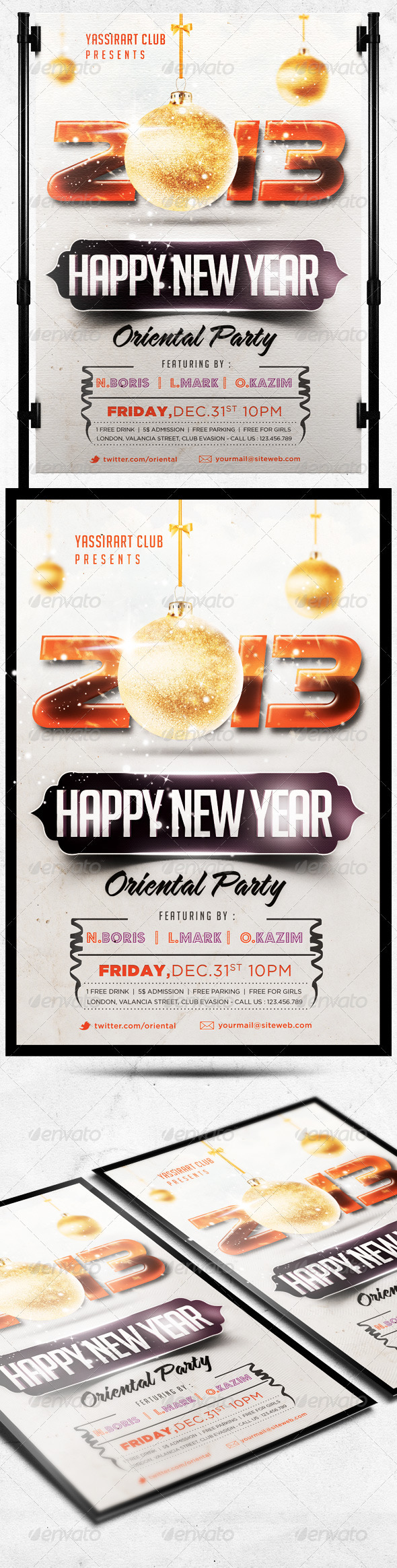 Happy New Year Flyer Party Template - Holidays Events