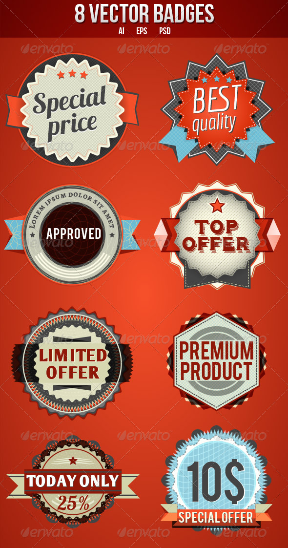 8 Vector Badges - Decorative Symbols Decorative