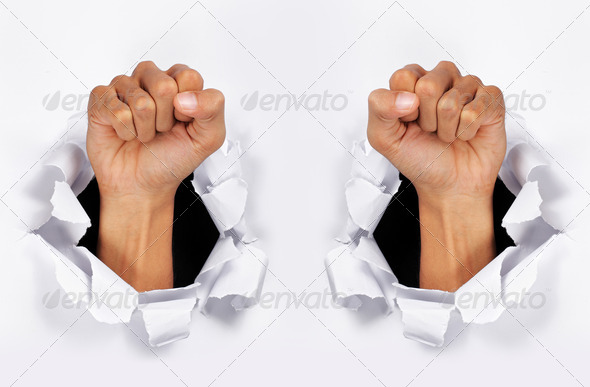 paper torn and hand - Stock Photo - Images