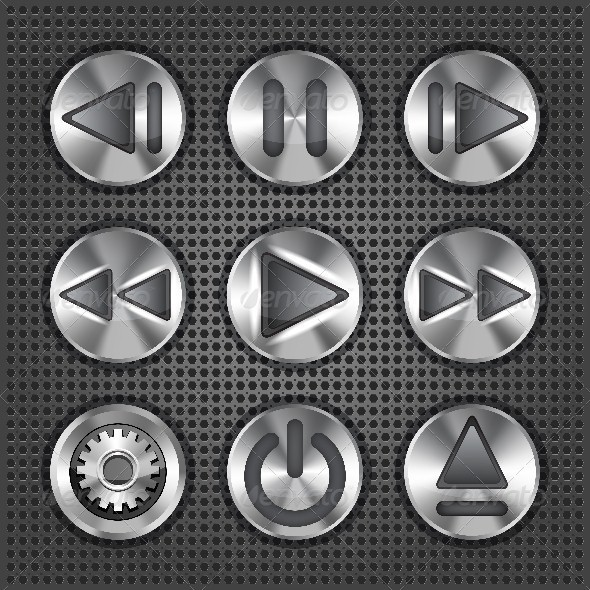 Set of Stylish Multimedia Metallic Buttons - Media Technology