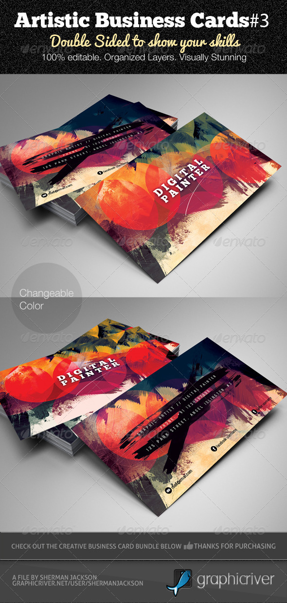 artistic business card3 psd template creative business cards - Artist Business Cards