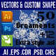 50 Ornaments Element Photoshop Custom Shape - GraphicRiver Item for Sale