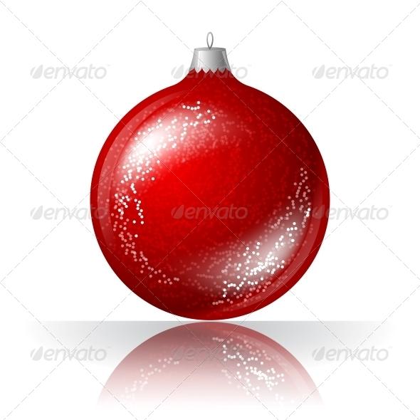 Vector Illustration of Red Christmas Ball. - Christmas Seasons/Holidays