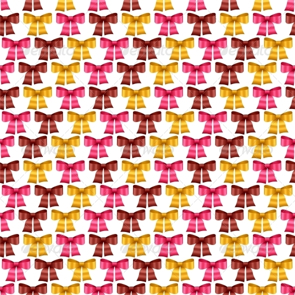 Valentine Vector Seamless Pattern of Bows. - Valentines Seasons/Holidays