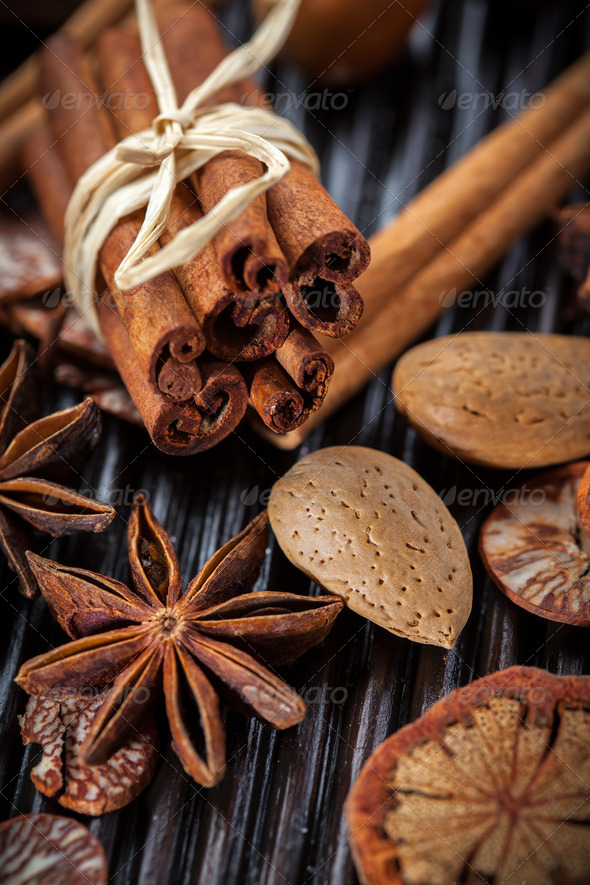 Spices and nuts for Christmas - Stock Photo - Images