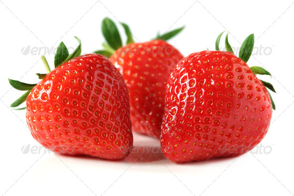 Strawberries isolated on white - Stock Photo - Images
