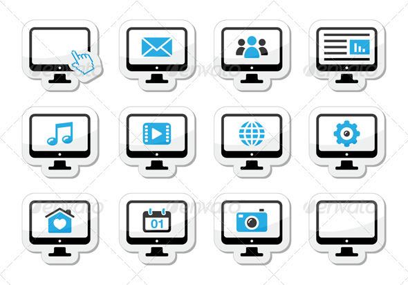 Tablet Icons Set - Media, Settings, Web - Web Technology