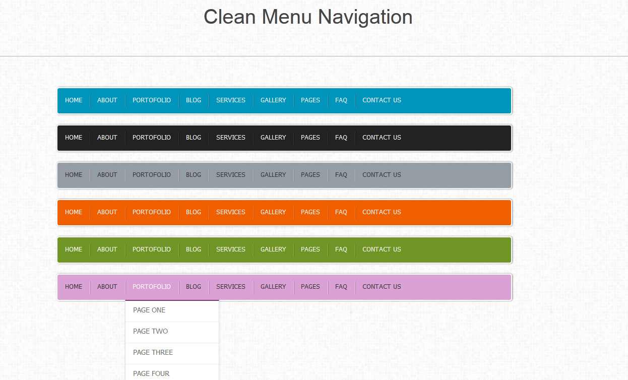 Pure Css3 Horizontal Navigation Menu