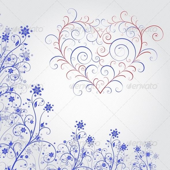 Blue Grunge Flower With Heart - Flourishes / Swirls Decorative