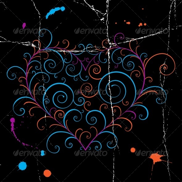 Dark Grunge Heart - Backgrounds Decorative