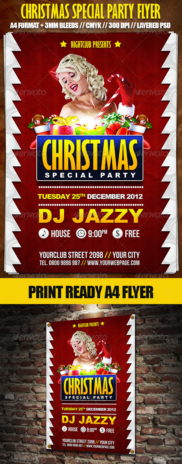 Christmas Special Party A4 Flyer - Holidays Events