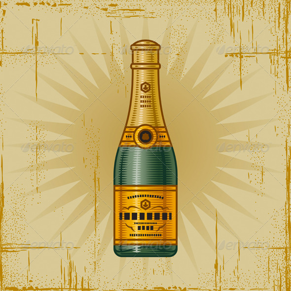 Retro Champagne Bottle - Food Objects
