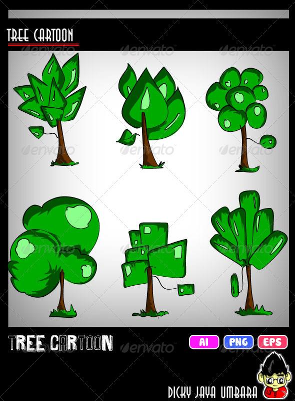Cartoon Tree Set - Flowers & Plants Nature
