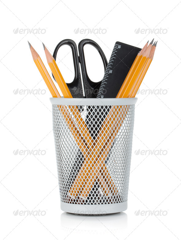 Pencils, ruler and scissors - Stock Photo - Images