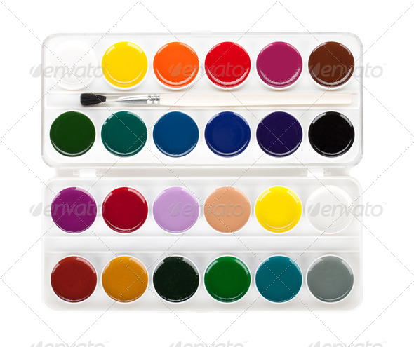 Paint palette with brush - Stock Photo - Images