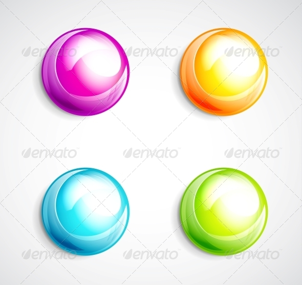 Colorful Bubble Buttons - Web Elements Vectors