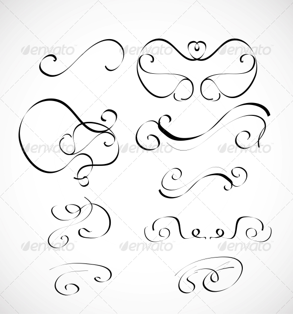 Set of Calligraphic Design Elements - Flourishes / Swirls Decorative