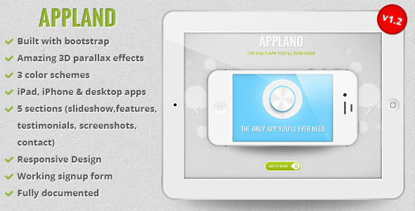 AppLand - Responsive Bootstrap Parallax App Landing Page by oxygenna