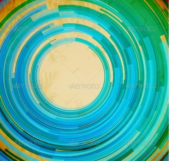 Retro Blue Swirl Shape Background - Backgrounds Decorative
