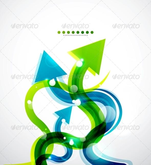 Vector Wavy Arrows Background - Backgrounds Decorative