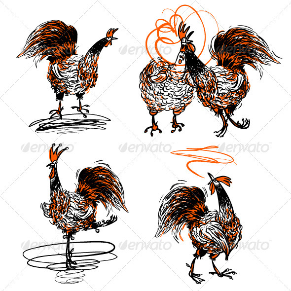 Roosters and a Hen Set - Animals Characters
