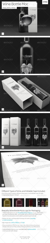 Wine Bottle Packaging Mock-Up - Food and Drink Packaging