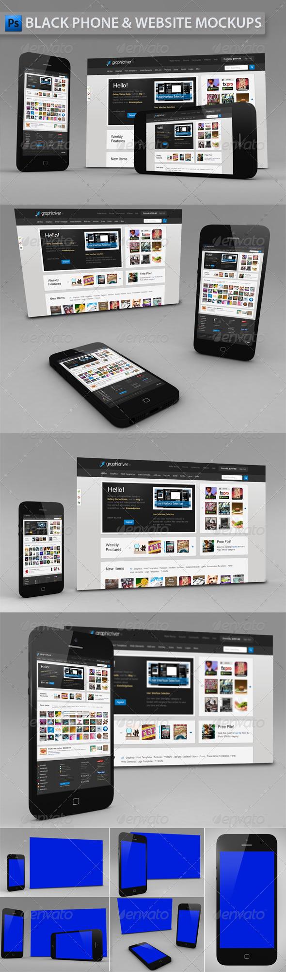 Black Phone and Website | App Mockup - Multiple Displays