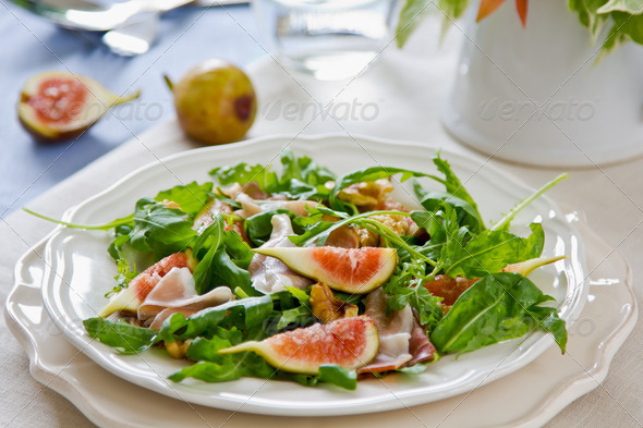 Fig with Prosciutto and Walnut salad - Stock Photo - Images