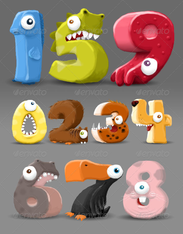 Hand-drawn Number Characters - Characters Illustrations