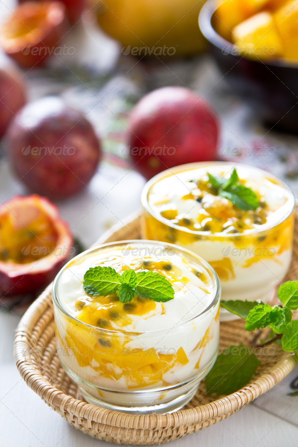 Passion fruit and Mango yogurt - Stock Photo - Images