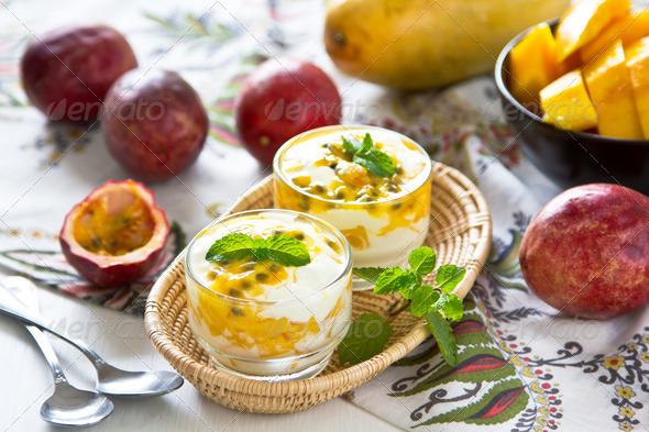 Passion fruit and Mango yogurt - Stock Photo - Images