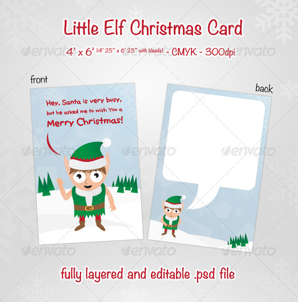 Little Elf Christmas Card - Holiday Greeting Cards